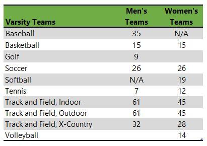 Listing of Cedarville University athletic teams