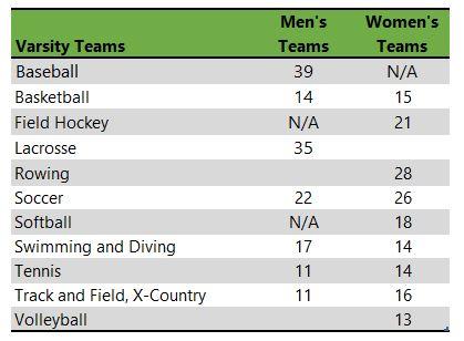 table listing clark university athletic teams