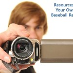 Person with video camera representing how to create a baseball recruiting video