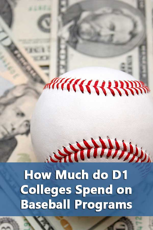 Listing of average college baseball expenses for D1 College baseball programs.