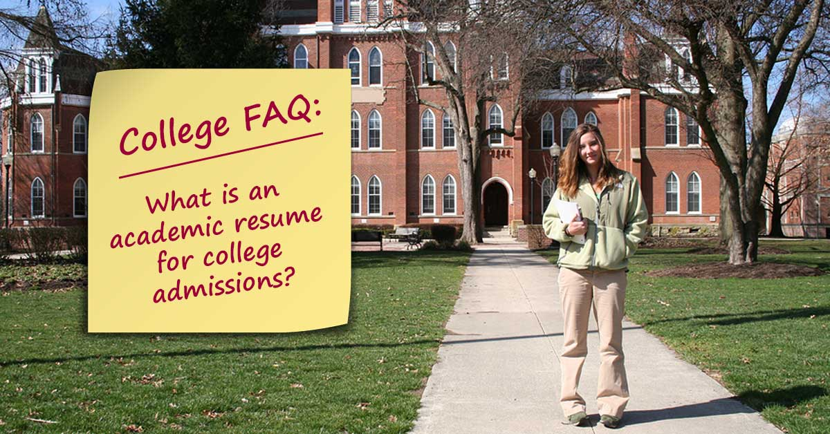 What Is An Academic Resume For College Admissions  Do It Yourself