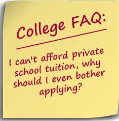 Note with text I can't afford private school tuition, why should I even bother applying?