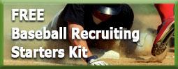 baseball player sliding into base representing Free baseball recruiting starters kit