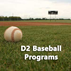 Baseball on a field representing list of D2 baseball programs